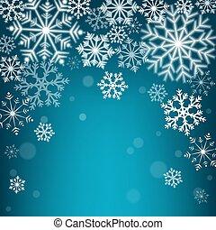 bleu, arrière-plan., noël, flocons neige