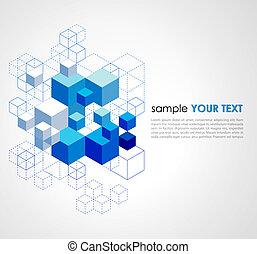 bleu, arrière-plan., résumé, cubes