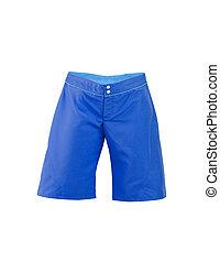 bleu, arrière-plan., shorts., blanc
