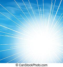 bleu, arrière-plan soleil