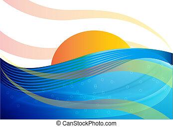 bleu, arrière-plan soleil, vagues