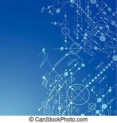 bleu, arrière-plan., vecteur, technologie