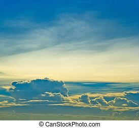bleu, Arrière-plans, nuages, Coucher soleil, ciel