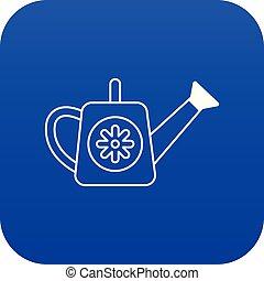 bleu, arrosoire, vecteur, icône