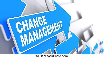bleu, arrow., gestion, changement
