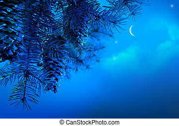 bleu, art, branche, arbre, ciel, fond, nuit, noël