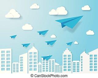 bleu, art, business, nature, avion, concept., voler, ciel, illustration, papier, nuage, direction, style., paysage, bâtiment.