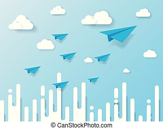 bleu, art, business, nature, avion, résumé, voler, ciel, illustration, arrière-plan., papier, nuage, direction, concept., style., paysage