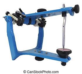 bleu, art dentaire, utilisé, articulator, métallique