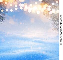 bleu, art, hiver, neigeux, arbre, light;, noël, paysage