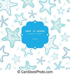 bleu, art, modèle étoile mer, cadre, seamless, fond, ligne