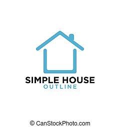 bleu, art, simple, maison, conception, gabarit, logo, ligne
