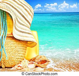 bleu, articles, sur, plage, mer