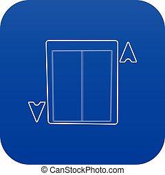 bleu, ascenseur, vecteur, icône