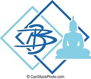 bleu, asiatique, bouddha, dessiner