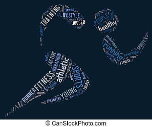 bleu, athlétique, courant, fond, pictogramme
