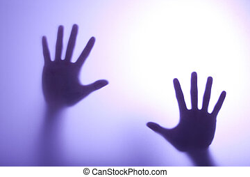 bleu, atteindre, lumière, verre, toucher, mains, flou, dehors