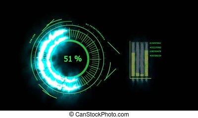 bleu, augmentation, numérique, barre, énergie, mètre, temps...