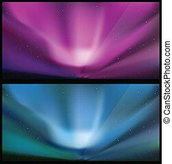 bleu, aurore, nord, backgrounds.