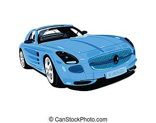 bleu, auto, créatif