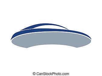 bleu, auto, planche, logo