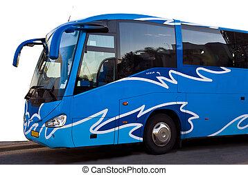 bleu, autobus