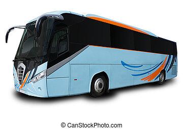 bleu, autobus tournée