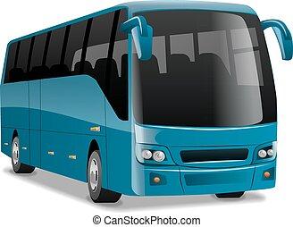 bleu, autobus ville