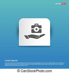 bleu, autocollant, -, kit, médecine, main, bouton, icône