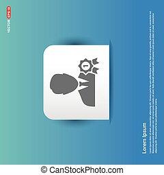 bleu, autocollant, -, récompense, utilisateur, bouton, icône