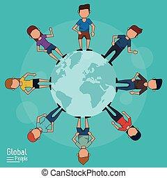 bleu, autour de, elle, gens, affiche, global, ilustration, planète, vecteur, fond, lumière, la terre