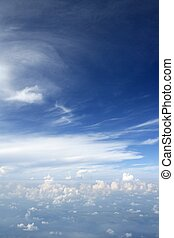 bleu, avion, ciel, avion, vue