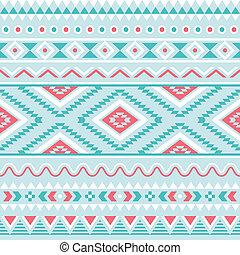 bleu, aztèque, seamless, tribal, modèle