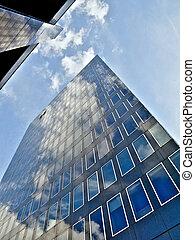 bleu, bâtiment bureau