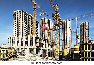 bleu, bâtiments, grues, beaucoup, intérieur, ciel, construction, endroit, sous, grand