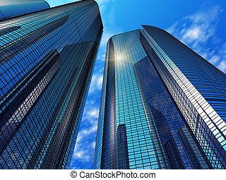 bleu, bâtiments, moderne, bureau