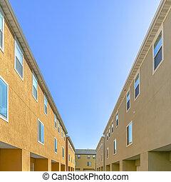 bleu, bâtiments, résidentiel, ciel, dos, contre, vue