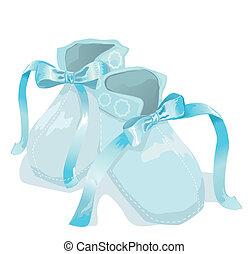 bleu, bébé, blanches chaussures, fond