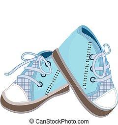 bleu, bébé, bottes, illustration