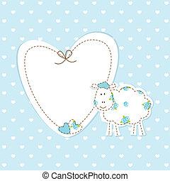 bleu bébé, fond, mouton