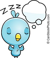 bleu bébé, oiseau, dessin animé, rêver
