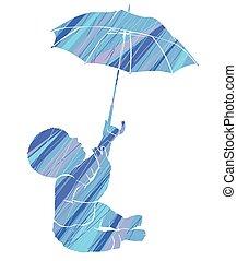 bleu, bébé, silhouette, parapluie, pluie