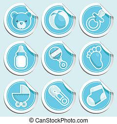 bleu, bébé, stickers., douche