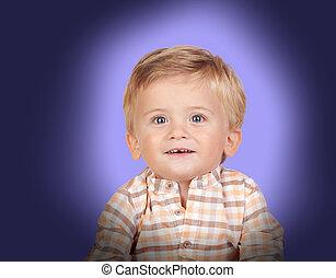 bleu bébé, yeux, adorable