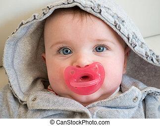 bleu, bébé, yeux, girl, portrait