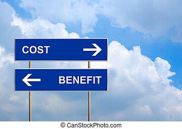bleu, bénéfice, cout, panneaux signalisations