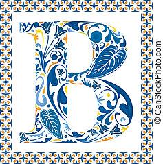 bleu, b, lettre