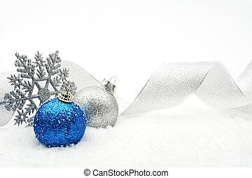 bleu, babioles, neige, argent, noël, ruban, scintillement