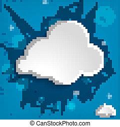 bleu, backg, blanc, rayé, nuage