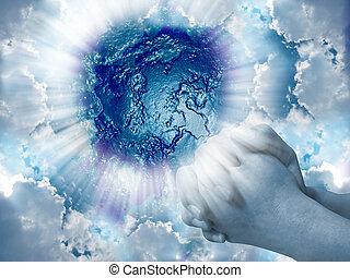 bleu, backg, mains, ciel, prières